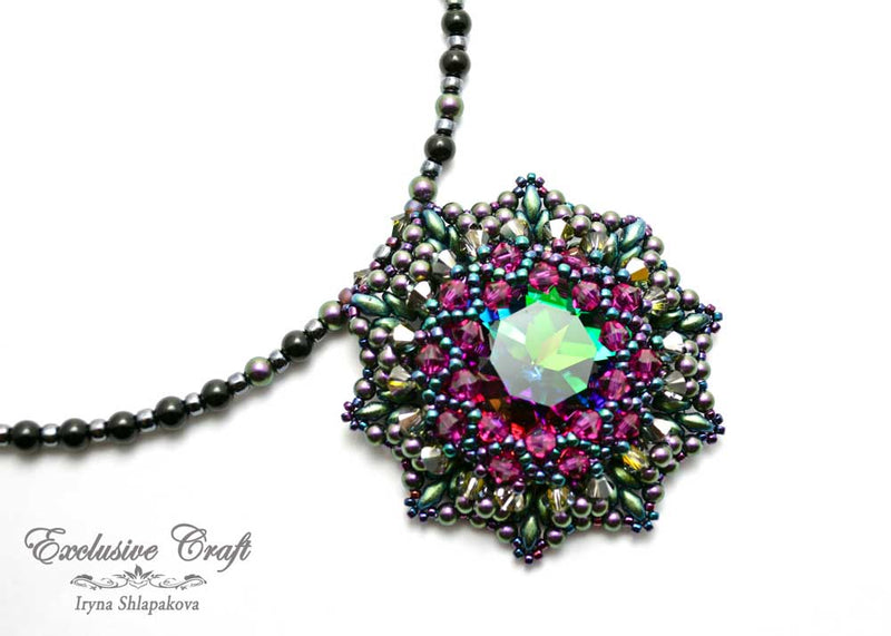 unique beaded green swarovski pendant