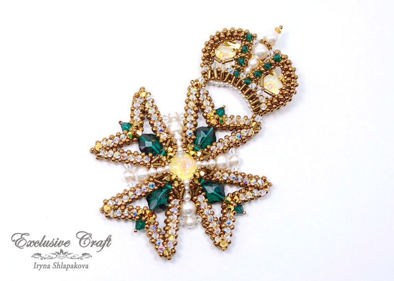 Maltese Cross swarovski beaded brooch handmade bronze