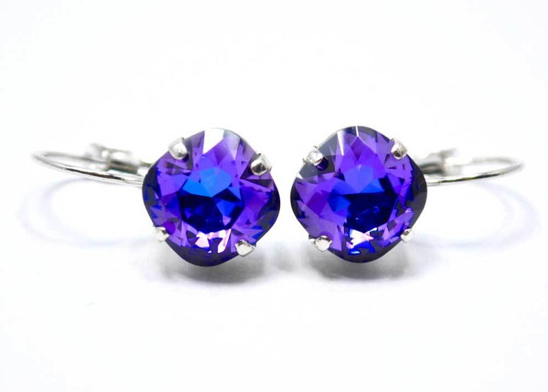 swarovski earrings blue purple