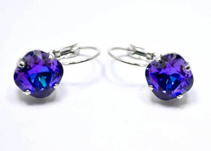 swarovski earrings blue purple handmade
