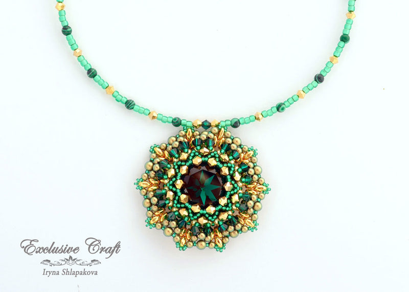 swarovski green emerald gold beaded necklace