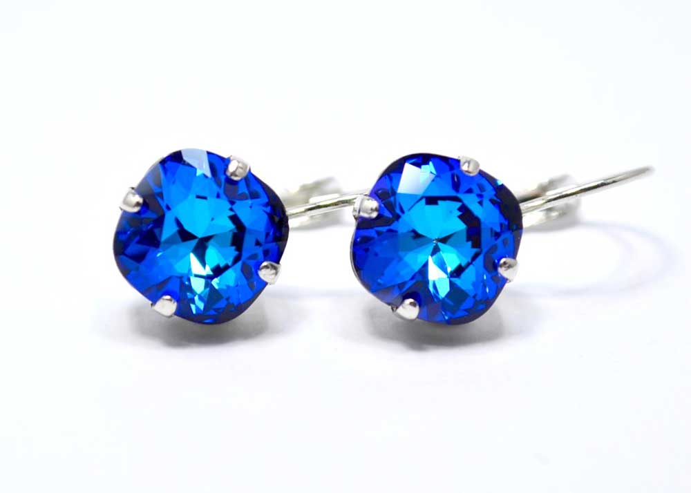 unique swarovski earrings blue