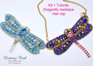 beading kit and tutorial for swarovski bead embroidered dragonfly necklace