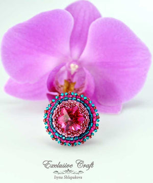 beaded adjastable swarovski fuchsia ring