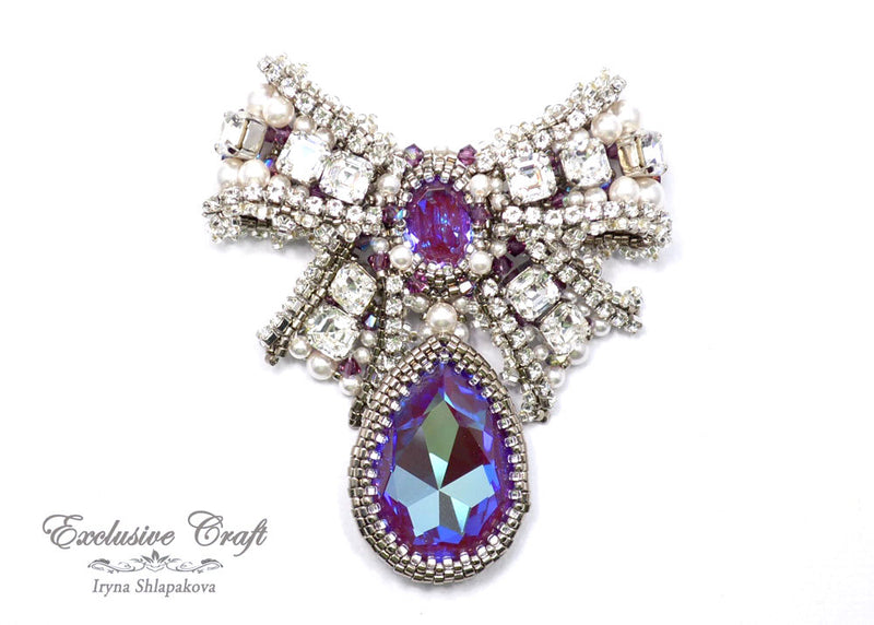 swarovski purple beaded bow brooch