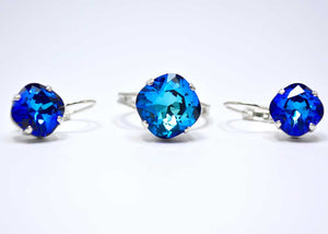 swarovski adjustable ring earrings blue