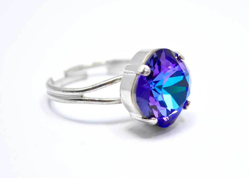 swarovski blue purple ring