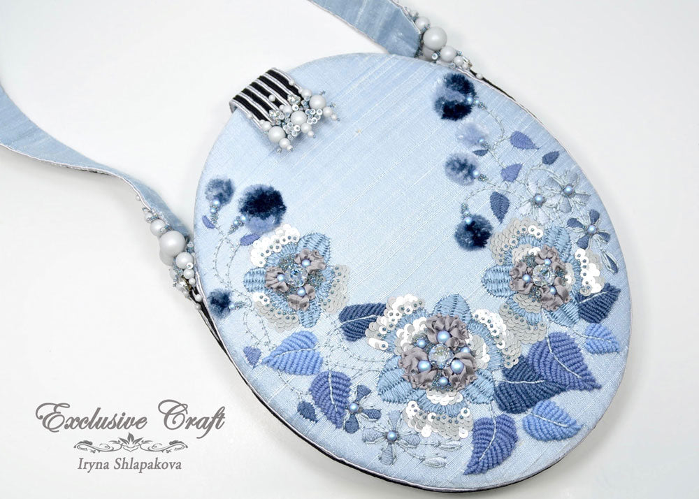 hand embroidered handcrafted blue gray purse bridal