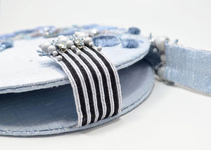 tambour embroidered handcrafted blue gray purse