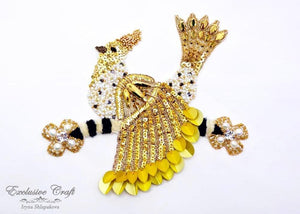 bead embroidered bird golden with Swarovski