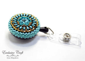 unique beaded ID badge reel for nurse teal bronze