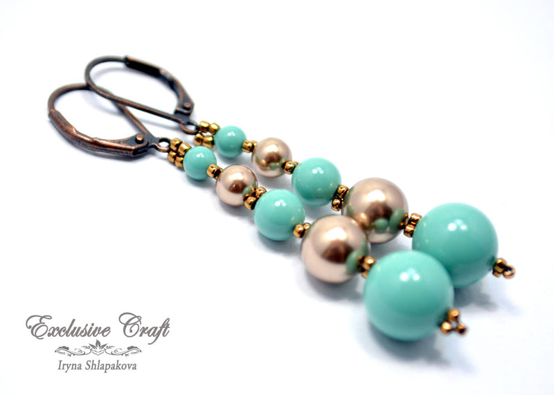 beaded green bronze dangle swarovski pearls earrings