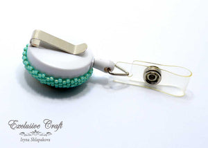 unique beaded ID badge holder white gold teal