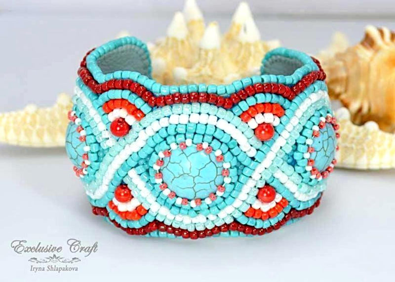 turquoise beaded cuff bracelet