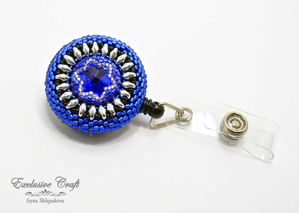 unique beaded ID badge reel for nurse blue silver