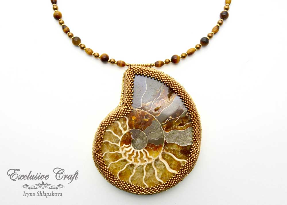 unique handmade beaded necklace with ammonite