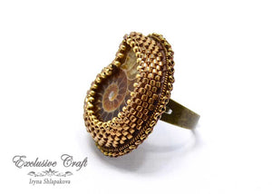 bead embroidery adjustable ammonite ring