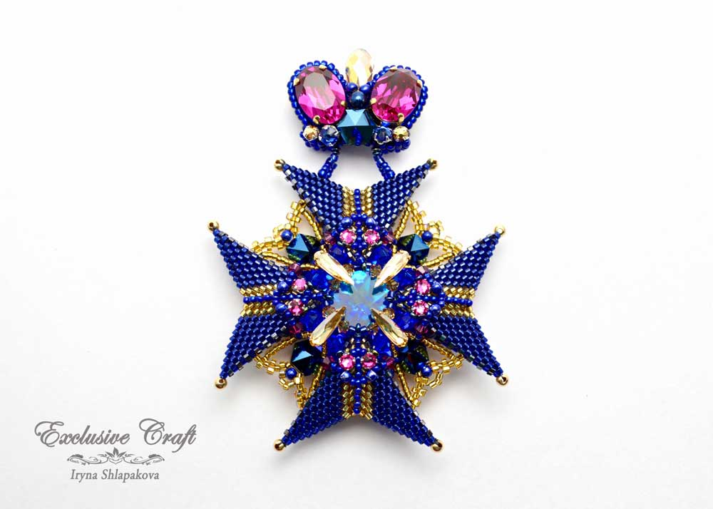 handmade artisan jewelry beaded brooch swarovski