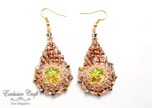 unique gold green beaded earrings