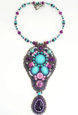 amethyst turquoise handmade necklace