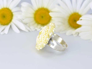 handcrafted bead embroidered yellow ring