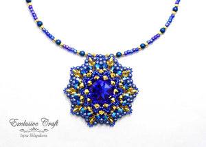 handmade artisan jewelry beaded pendant blue gold
