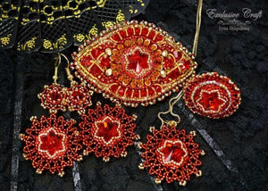 beaded red jewelry set