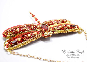 beaded red gold dragonfly Swarovski necklace handmade