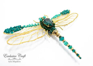 handcrafted beaded dragonfly brooch with Swarovski, wire purl
