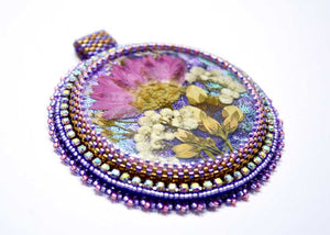 handmade artisan jewelry beaded pendant pink purple