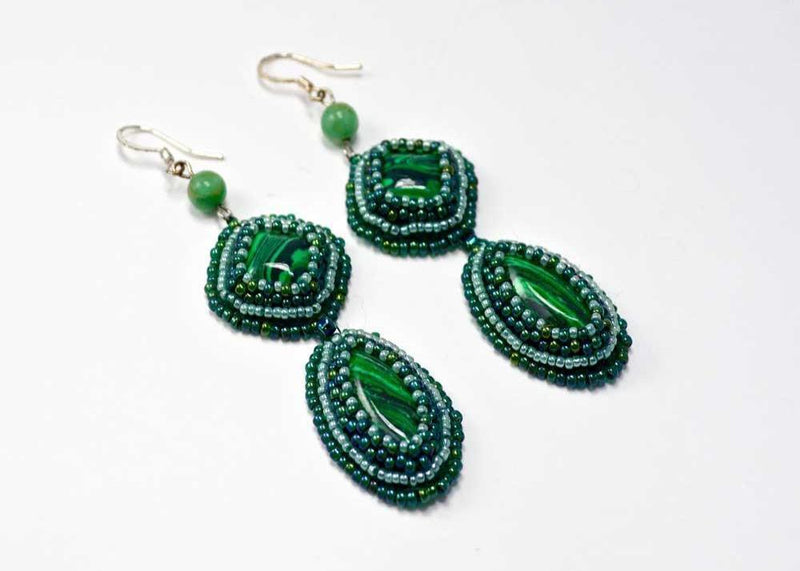 unique green beaded earrings