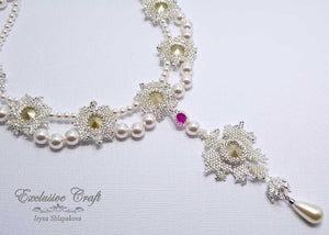 bridal white handmade necklace