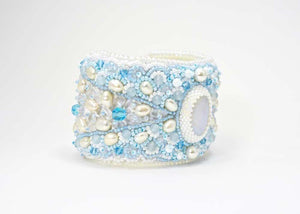 unique beaded moonstone cuff bracelet