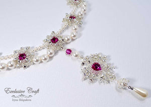 beaded bridal white pearls handmade necklace