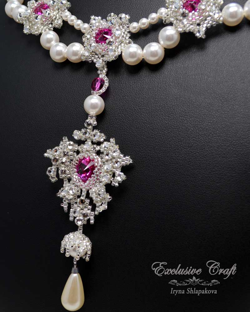 handcrafted white fuchsia beaded necklace bridal