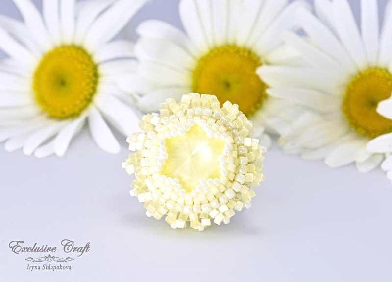 beaded adjastable swarovski yellow ring