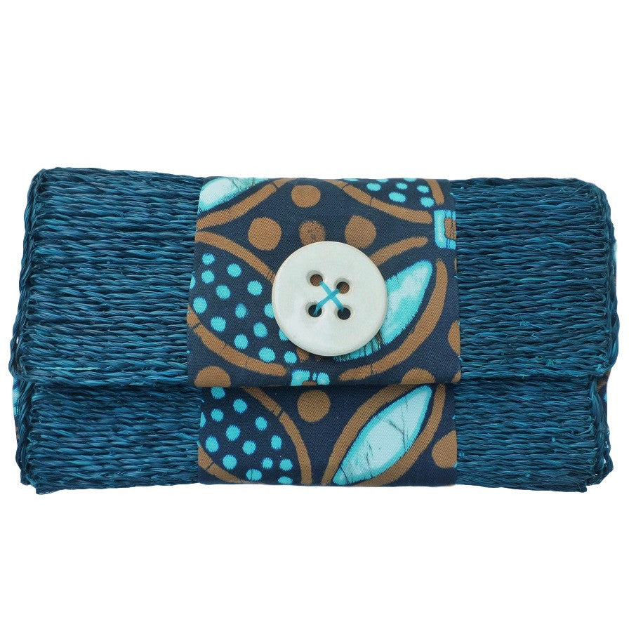 Dark Teal Straw Clutch with Ceramic Button, Handmade in Swaziland.