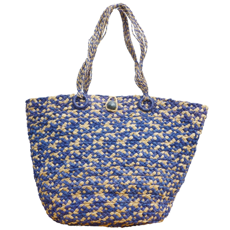 MALAIKA | Blue & Natural Raffia Straw Shoulder Bag