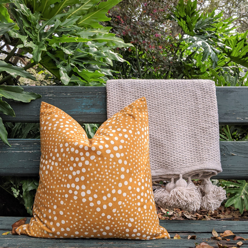 "Mustard Mud Cloth 20""x20"" Throw Pillow Cover 