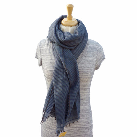 Judith Cotton Scarf, in Navy Blue