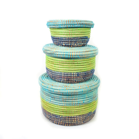 Nesting Lidded African Baskets Set