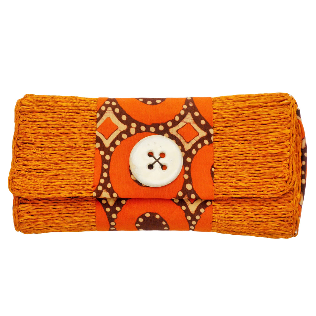 Orange straw clutch with batiked fabric, made in Swaziland