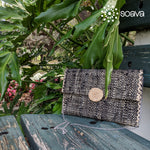 Black Woven Raffia & Fabric Clutch