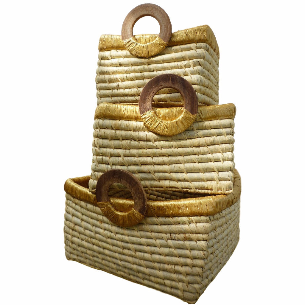 Square Straw Baskets