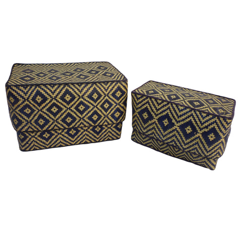 Straw lidded baskets/boxes