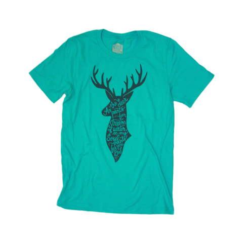 Teal Psalm 42 Deer T-Shirt