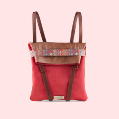 backpack red leather