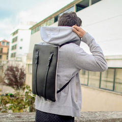LAPTOP BACKPACK BLACK LEATHER MENS