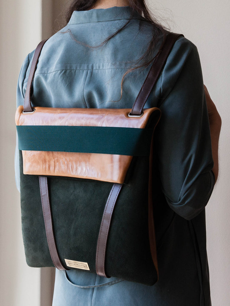 BACKPACK SUEDE WOMEN DARK GREEN WOMAN