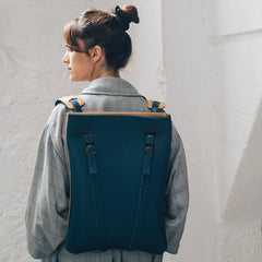 LAPTOP BACKPACK NAVY LEATHER